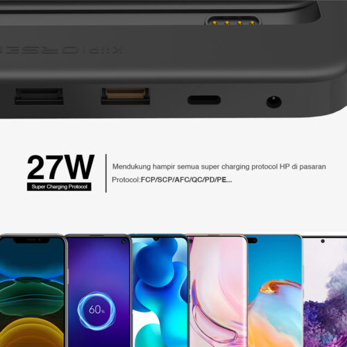 KiiP W5 Charger Station Wireless Fast Charging Power Bank Usb Type C PD